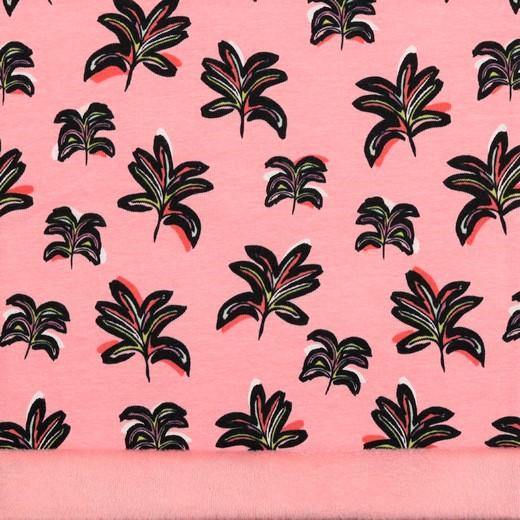 Alpenfleece rosa mit Blättern