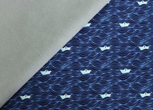 Softshell blau/dunkelblau mit Papierschiffen