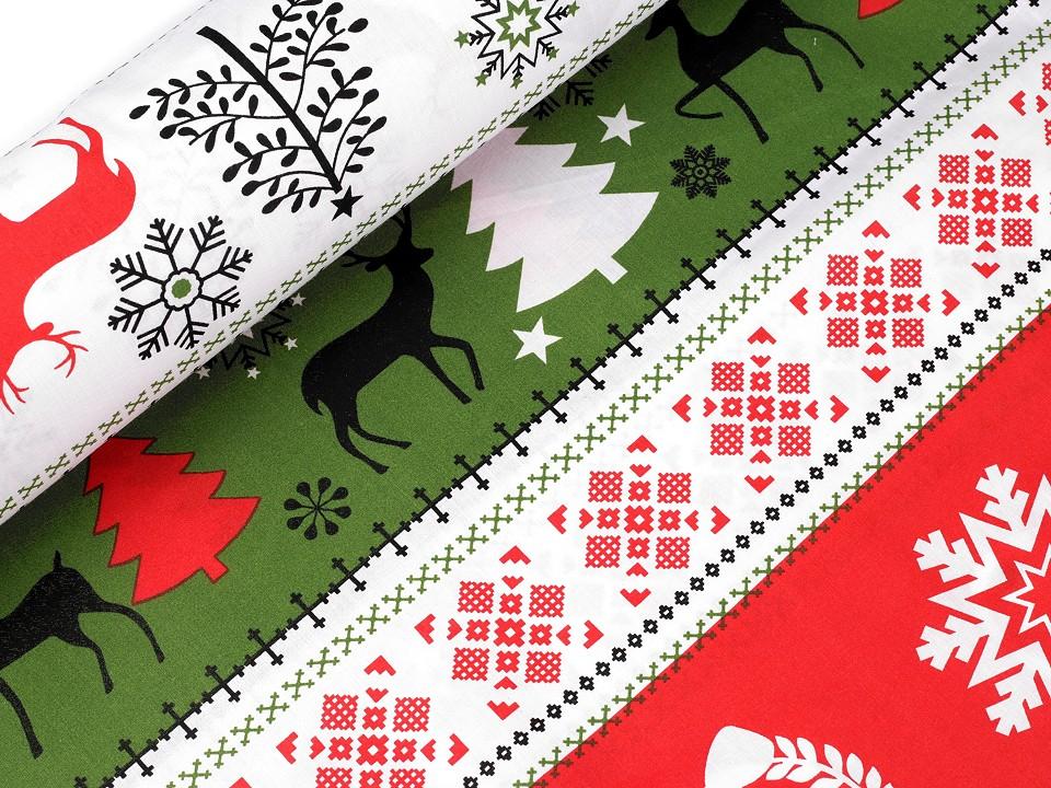 Baumwollstoff mit Tannenbäumen, Schneeflocken und Hirschen - rot/grün