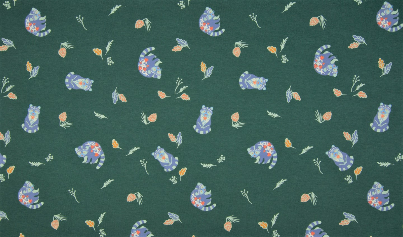 Baumwolljersey dunkelgrün mit Waschbären