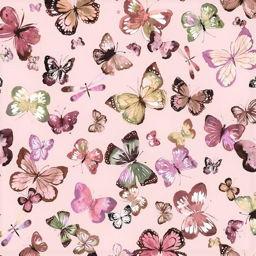 Sommersweat Organic Cotton hellrosa mit Schmetterlingen - Digitaldruck