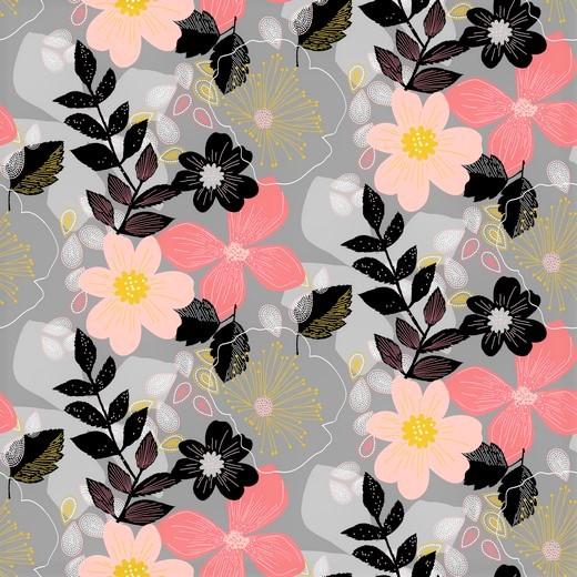 "Softsweat angeraut Organic Cotton ""Floral"" - grau"