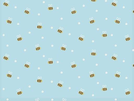 Baumwollstoff hellblau mit kleinen Bienen