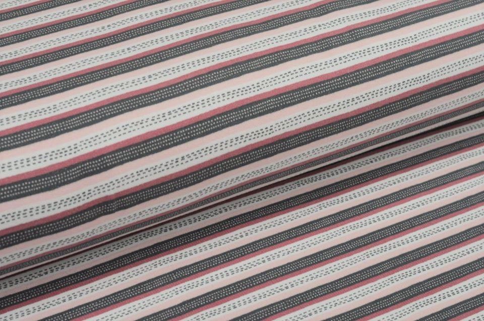 Softsweat angeraut Organic Cotton mit Streifen - altrosa