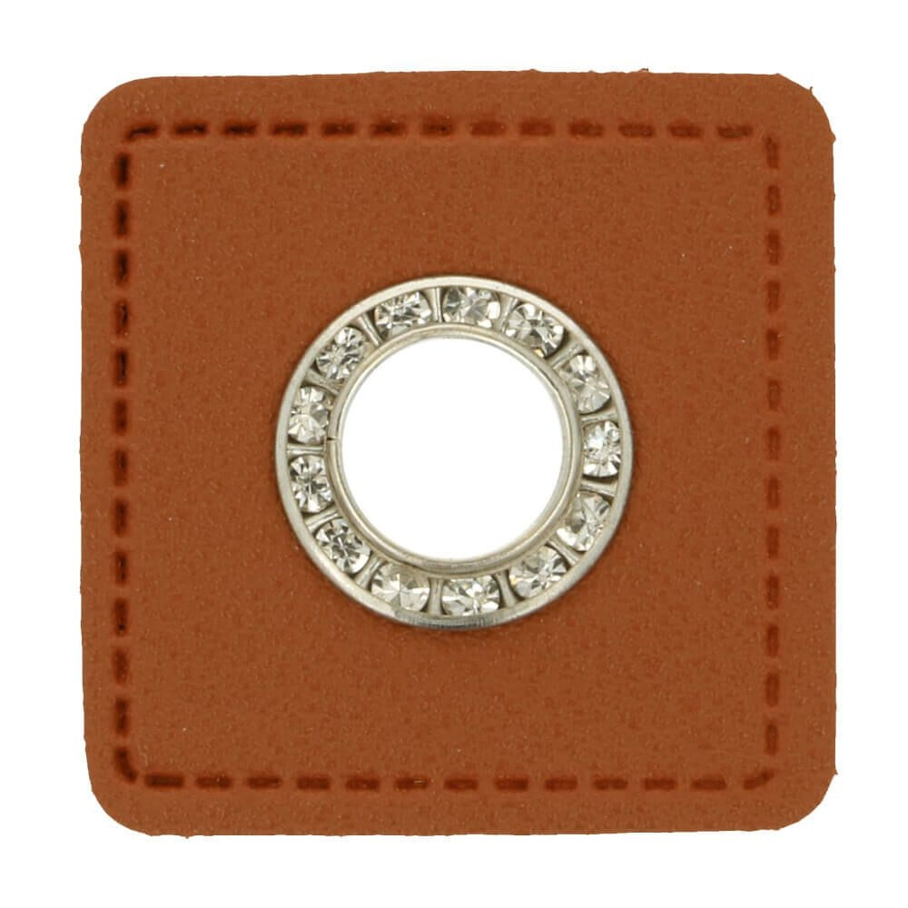 Ösen auf braunem Kunstleder mit Glitzersteinen nickel 11mm