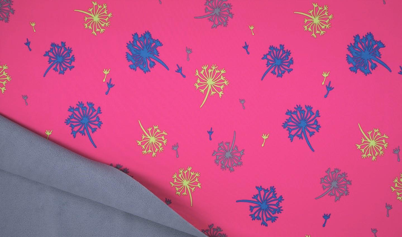 Softshell pink mit bunten Pusteblumen