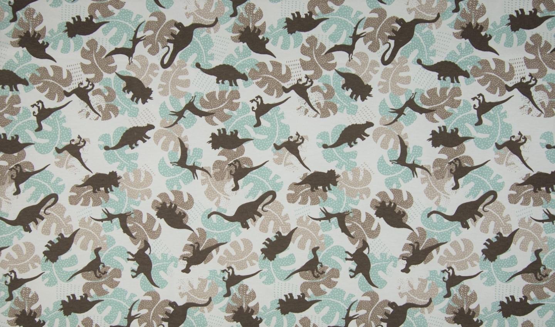Baumwolljersey beige mit Blätter und Dinosaurier