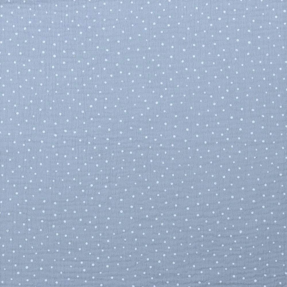 Baumwolle Musselin Double Gauze hellgrau mit weißen Dots