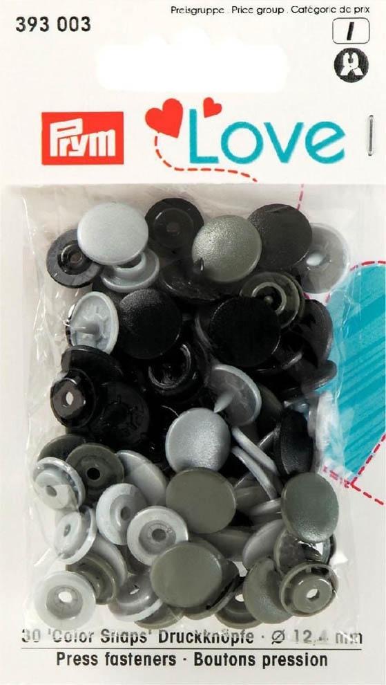 Prym Love Druckknopf Color Snaps 12,4mm schwarz/hellgrau/grau