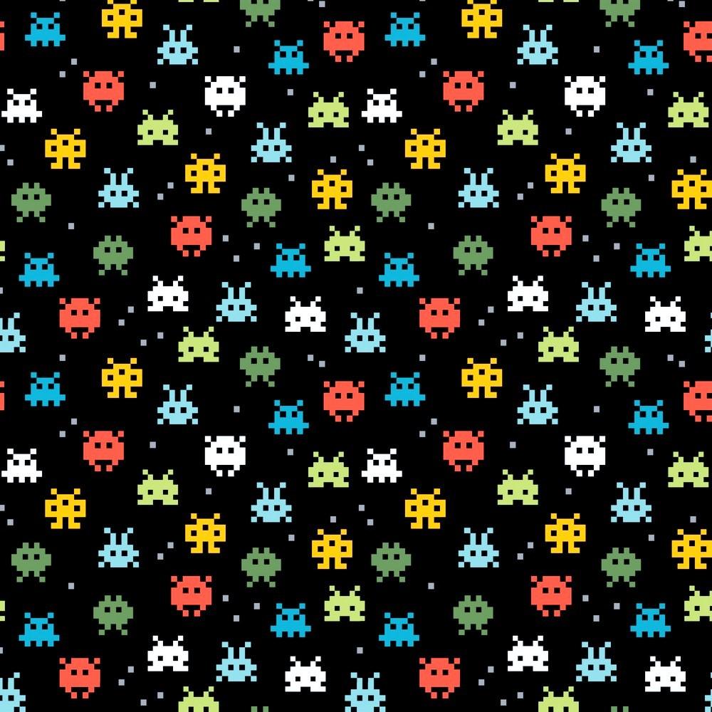 "Baumwolljersey Organic Cotton ""Pixel Game"" - schwarz"