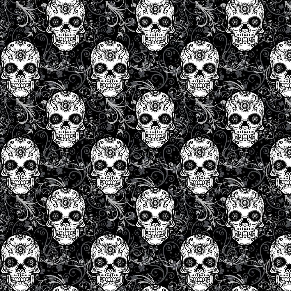 """0,98m Reststück      Sommersweat Organic Cotton """"Skulls"""" - schwarz"""