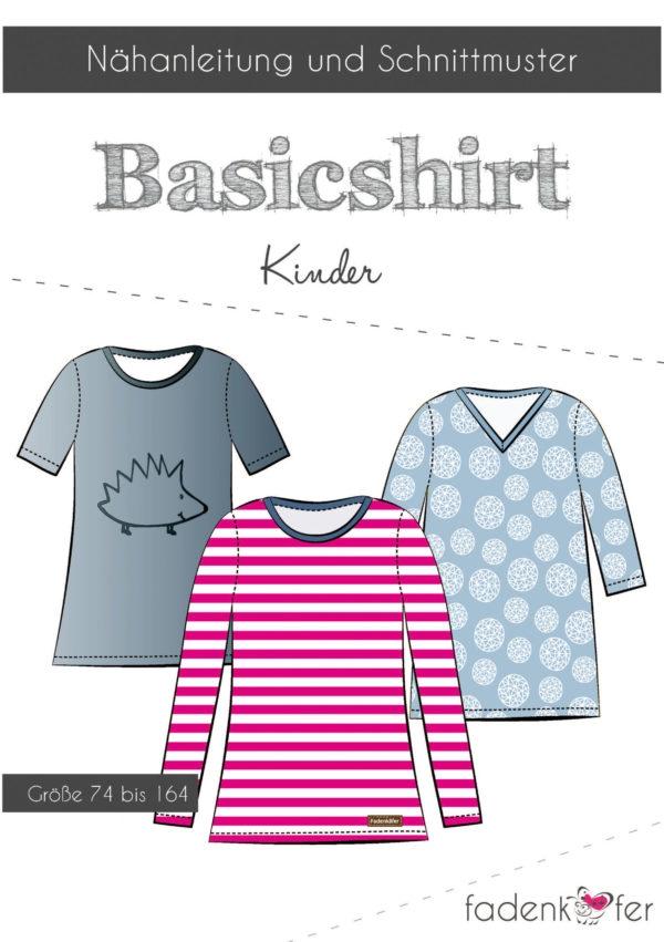 Papierschnittmuster Basic-Shirt für Kinder 74-164 von Fadenkäfer