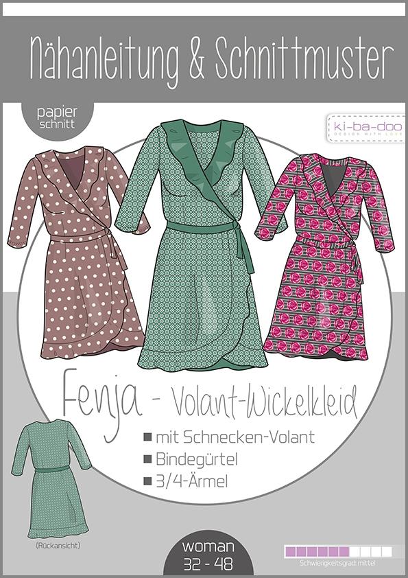 Papierschnittmuster Wickelkleid mit Volant Fenja Damen 32-48 von Ki-ba-doo