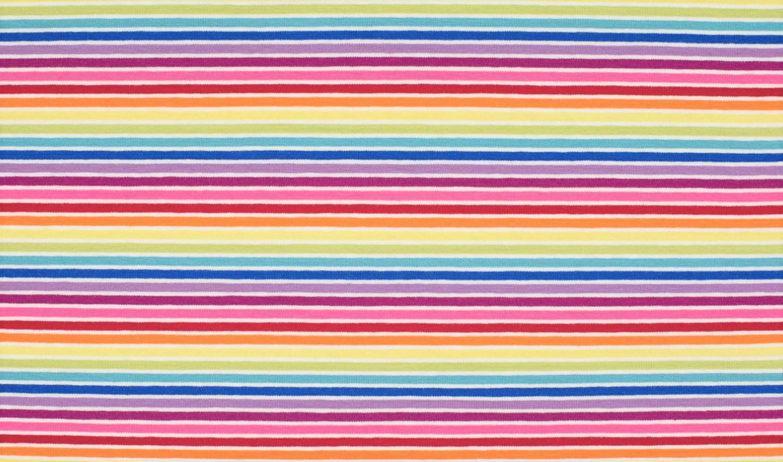 Baumwolljersey multicolor mit weiß/bunten Ringelstreifen