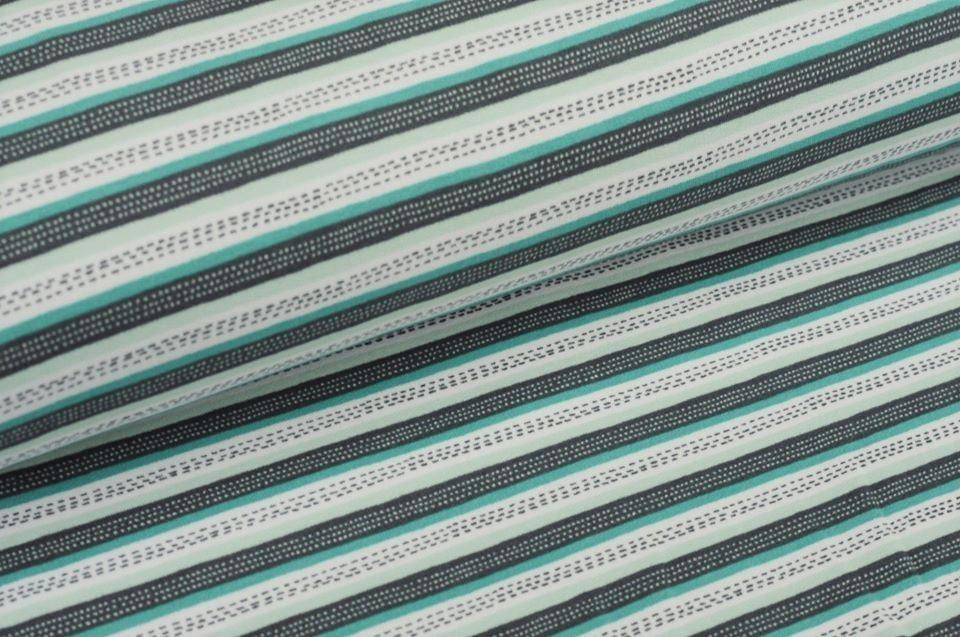Softsweat angeraut Organic Cotton mit Streifen - dusty mint