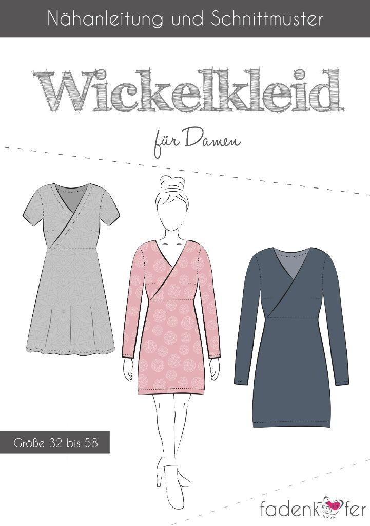 Papierschnittmuster Wickelkleid für Damen 32-58 von Fadenkäfer