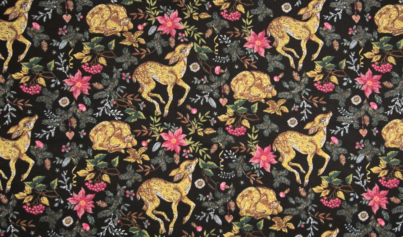Baumwolljersey schwarz mit Blumen und süßem Rehkitz