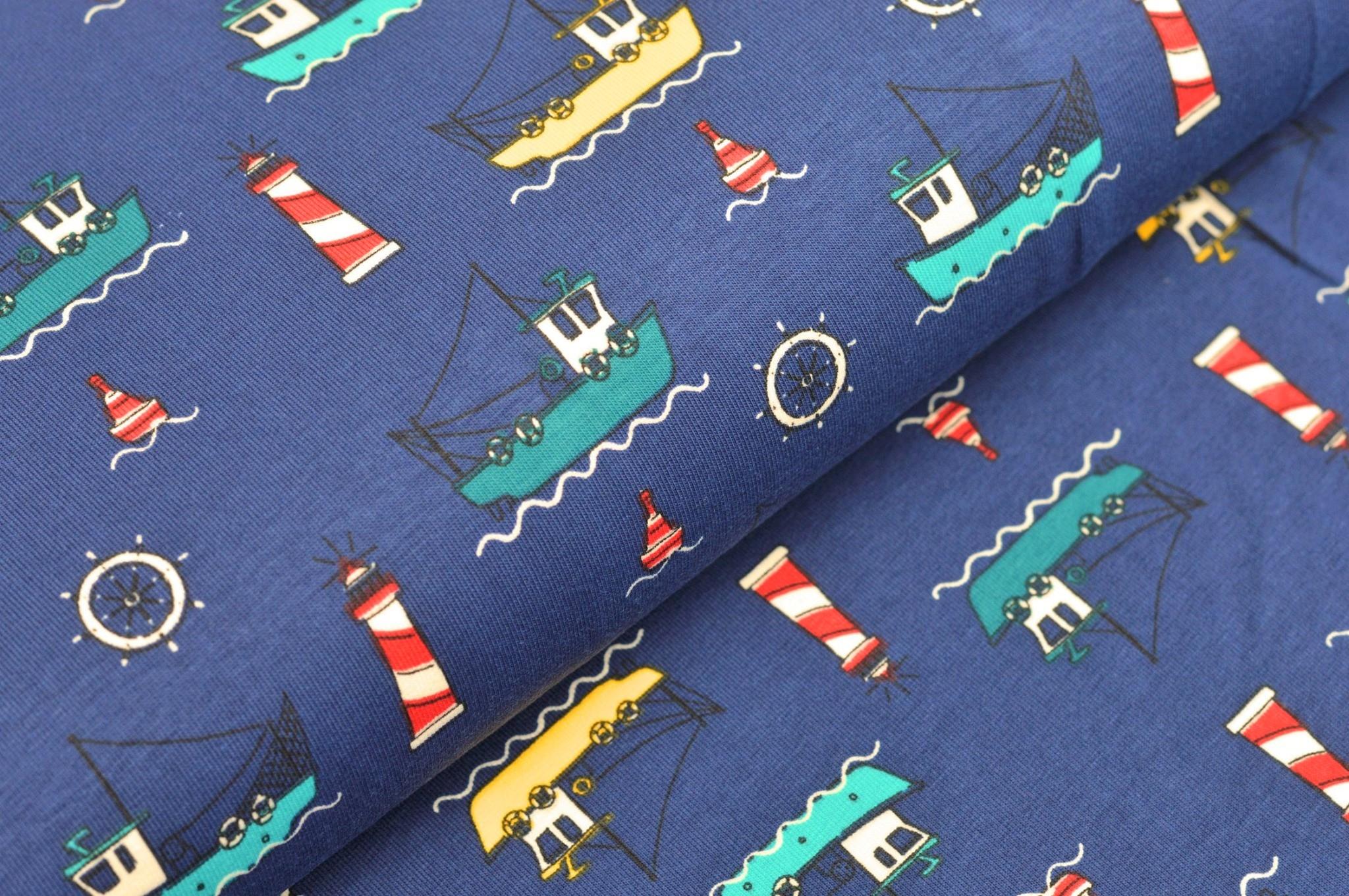Baumwolljersey dunkelblau mit Leuchttürmen und Schiffen