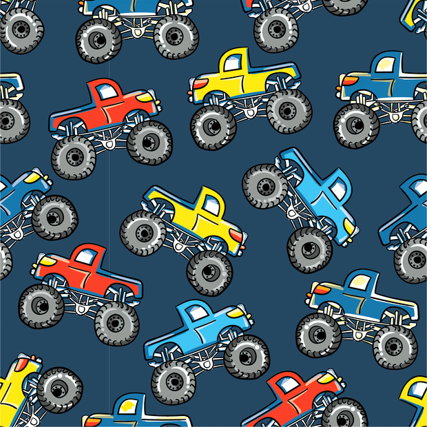 Baumwolljersey dunkelblau mit bunten Monstertrucks