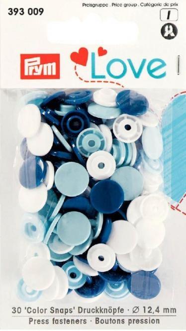 Prym Love Druckknopf Color Snaps 12,4mm blau/weiß/hellblau