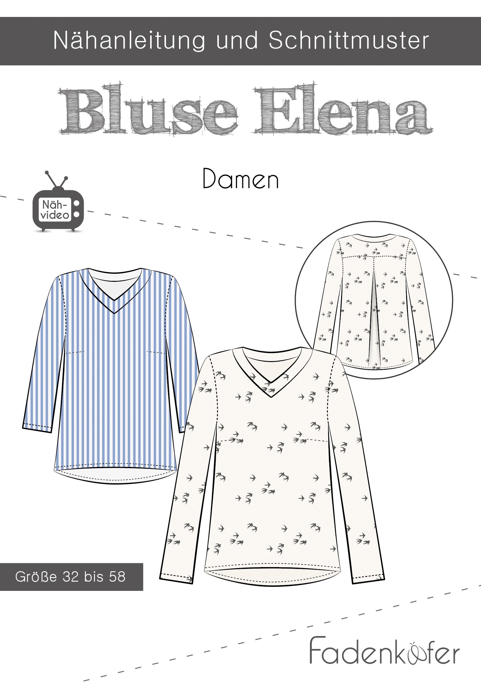 Papierschnittmuster Bluse Elena für Damen 32-58 von Fadenkäfer