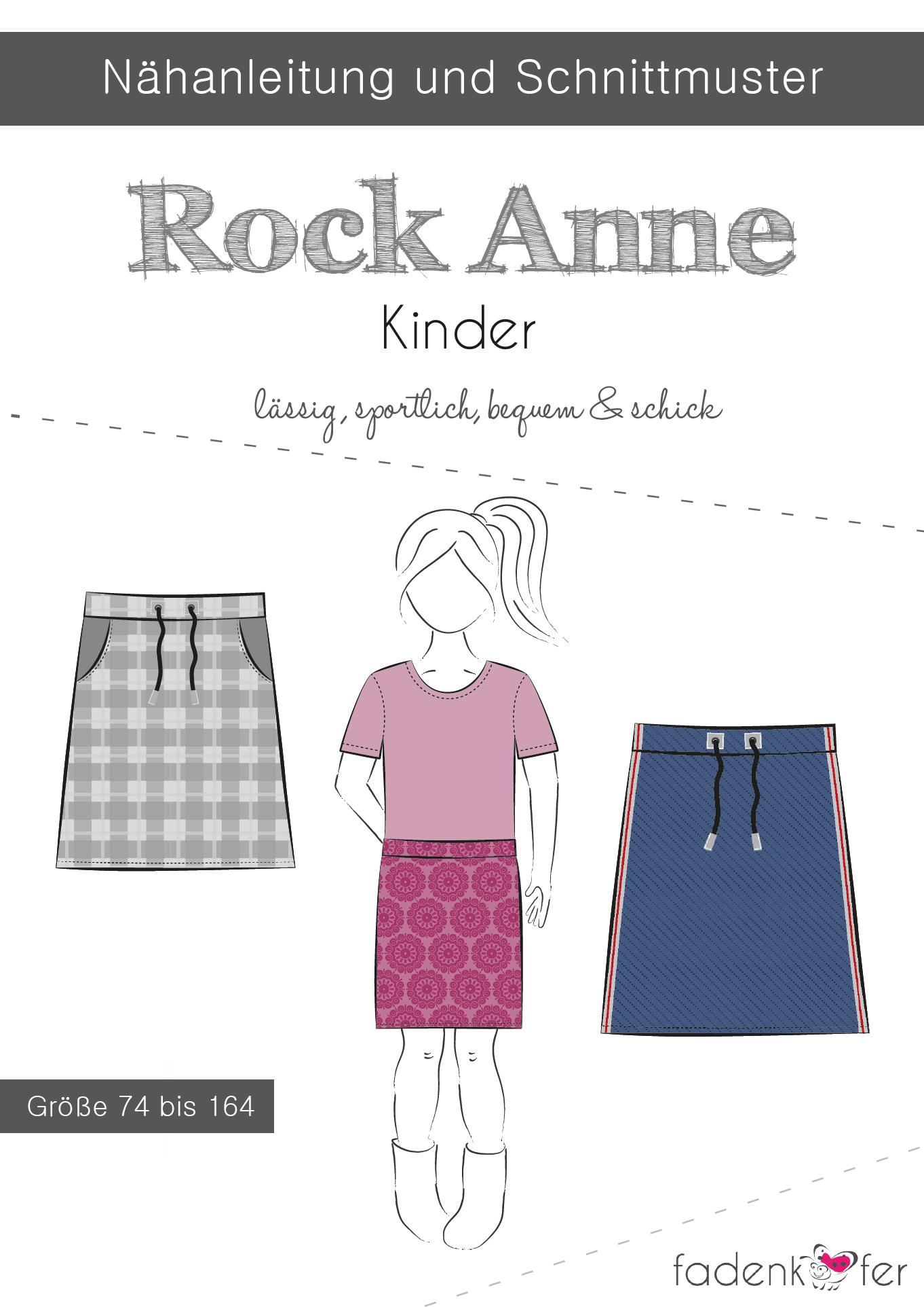 Papierschnittmuster Rock Anne für Kinder 74-164 von Fadenkäfer