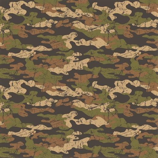 1,02m Reststück    Sommersweat mit Camouflagemuster - beige/braun