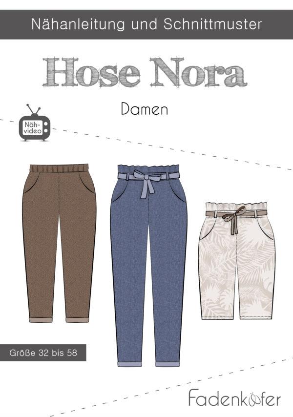 Papierschnittmuster Hose Nora für Damen 32-58 von Fadenkäfer