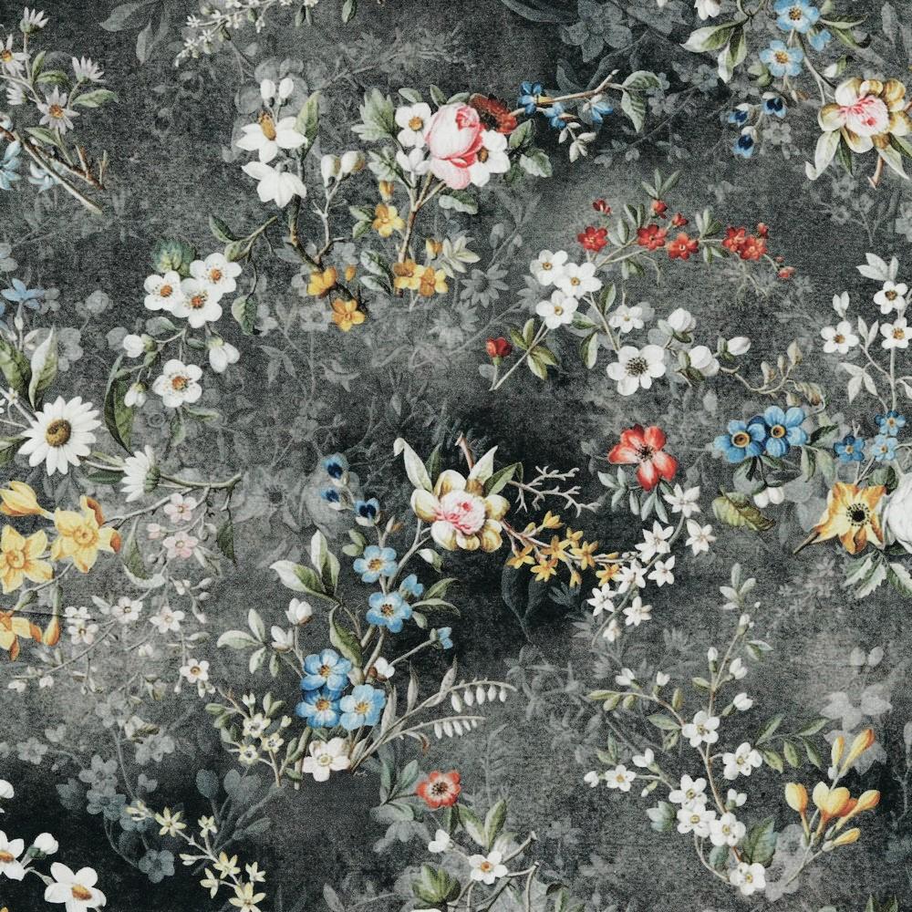Viskose Digital mit buntem Blumenmix - grau