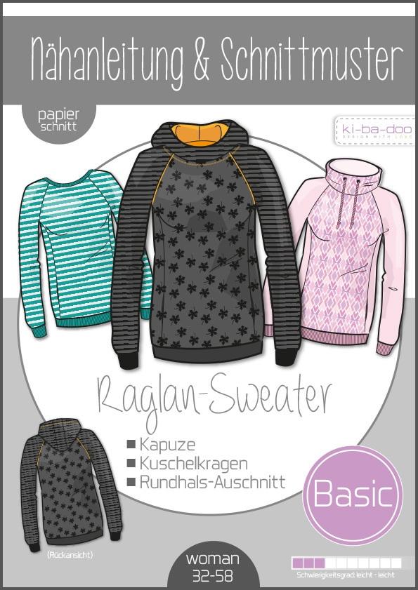 Papierschnittmuster Basic Raglan Sweater Damen 32-58 von Ki-ba-doo