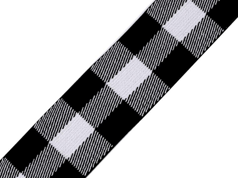 Gummiband 40mm schwarz/weiß mit Karomuster