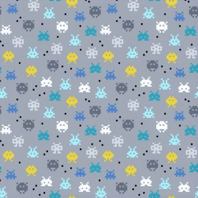 "Baumwolljersey Organic Cotton ""Pixel Game"" - grau"