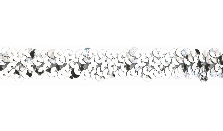 Paillettenborte elastisch uni silber 20mm