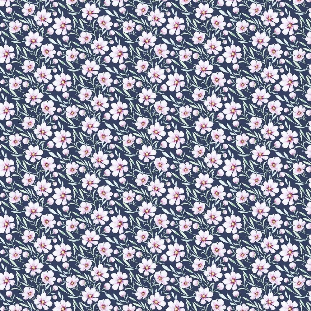 """Digitaljersey Organic Cotton """"Spring Blossom"""" - navy"""