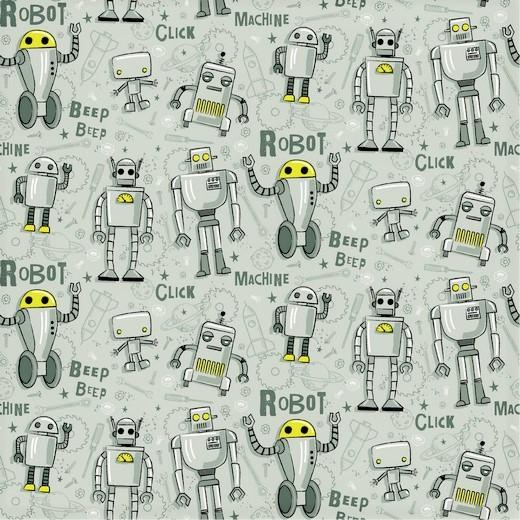 Sommersweat altgrün mit verschiedenen Roboter