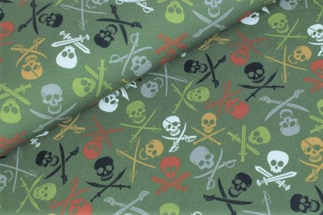 "Sommersweat angeraut ""Pirate Skulls"" - army"