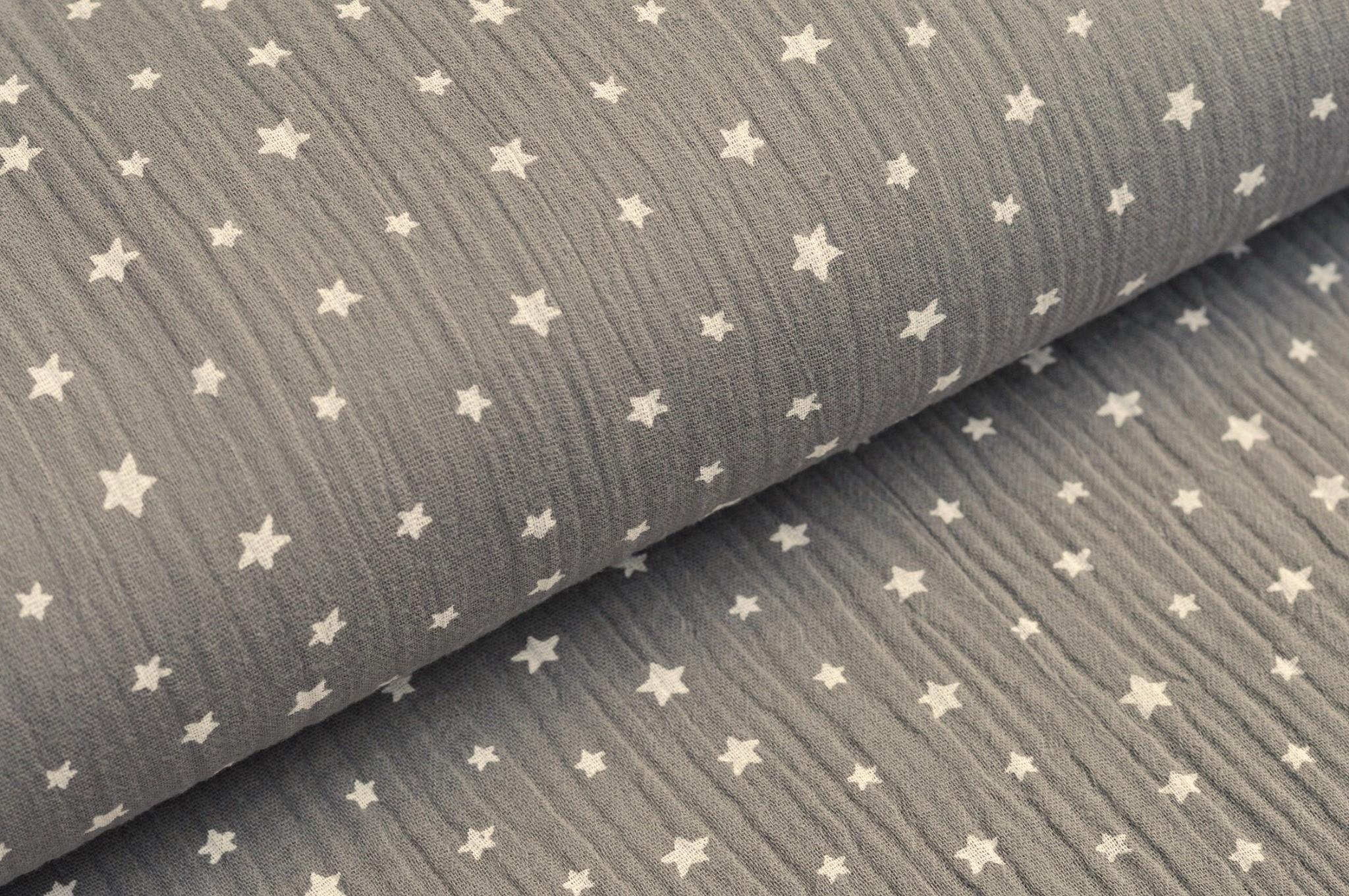 Baumwolle Musselin Double Gauze grau mit weissen Sternen