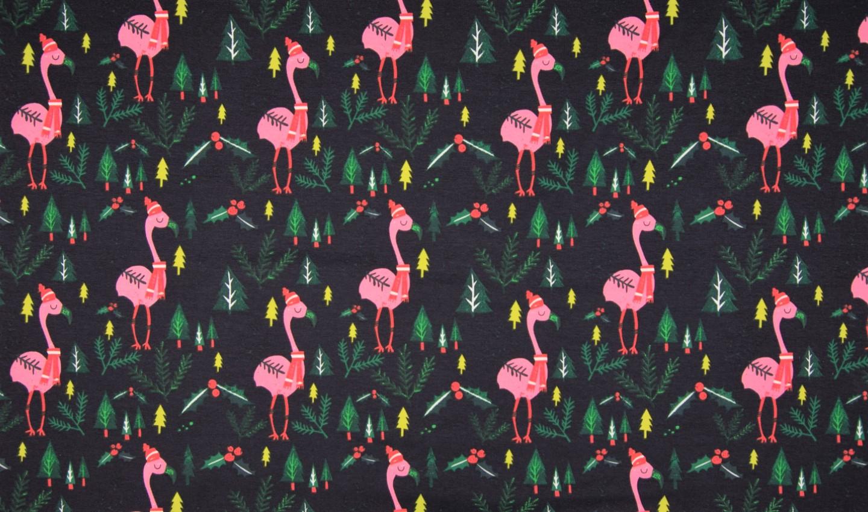 "Sommersweat angeraut ""Christmas Flamingos"" - schwarz"