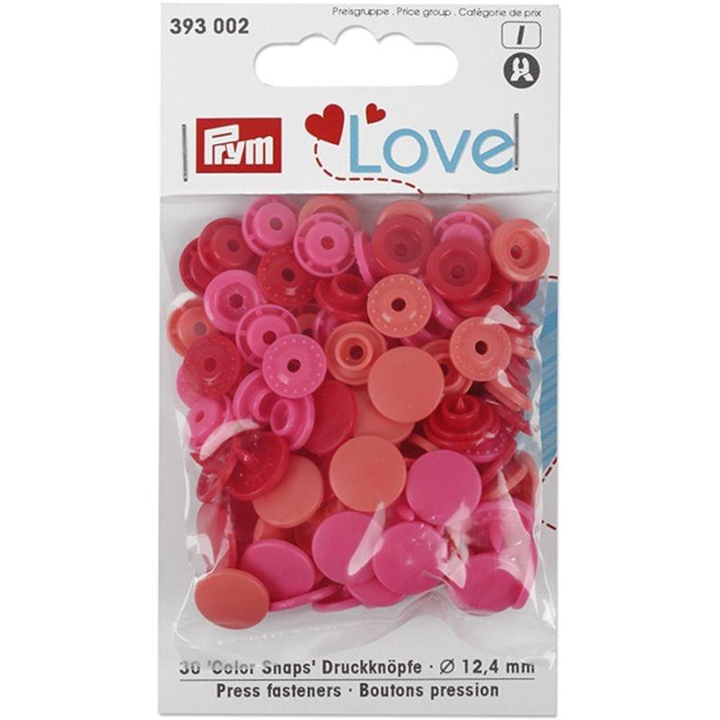 Prym Love Druckknopf Color Snaps 12,4mm rot/pink/koralle