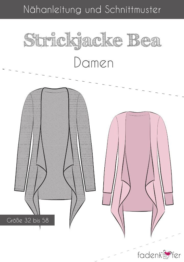 Papierschnittmuster Strickjacke Bea für Damen 32-58 von Fadenkäfer