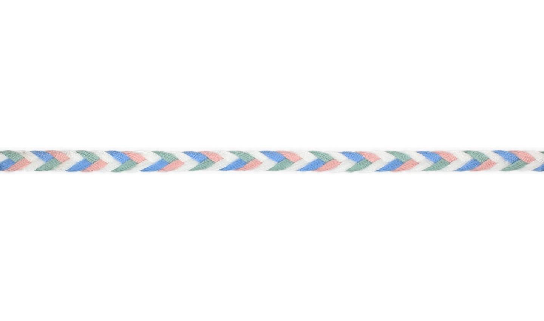 Kordel geflochten Baumwolle 8mm flach hellblau, dusty mint, altrosa, weiß
