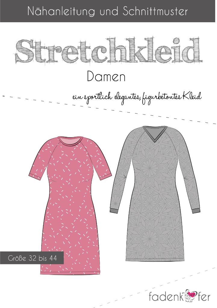 Papierschnittmuster Stretchkleid Carolin für Damen 32-44 von Fadenkäfer