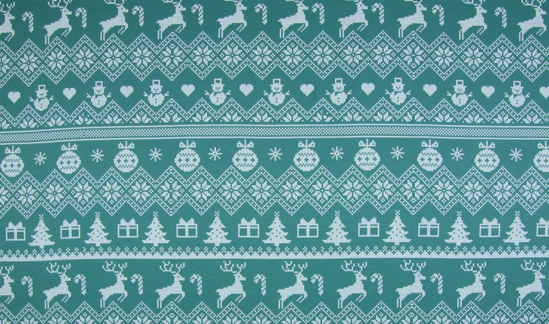 "Sommersweat angeraut ""Christmas"" - grün"
