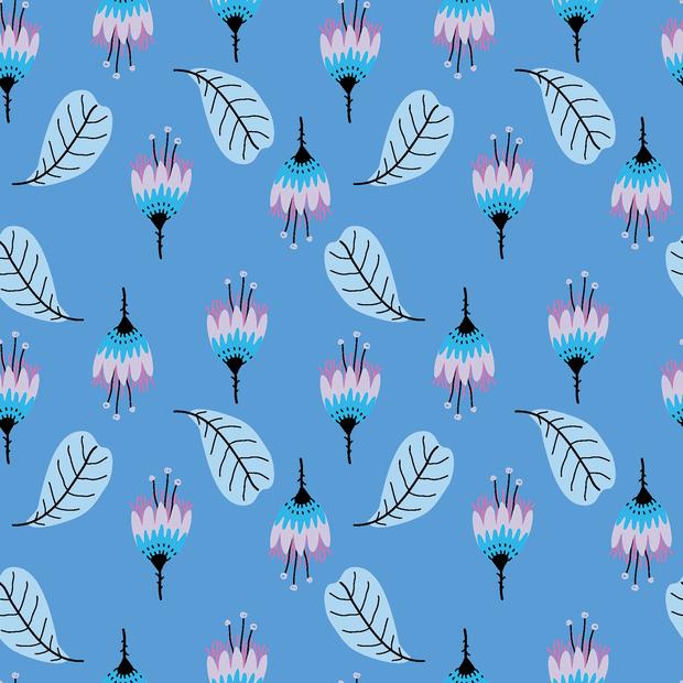 Baumwolljersey mit Blumen und Blättern - blau