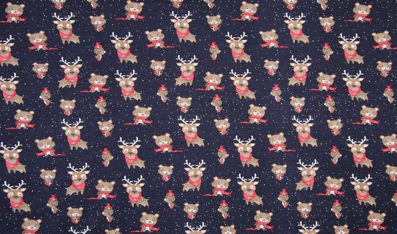 "Baumwolljersey ""Christmas Animals"" - dunkelblau"