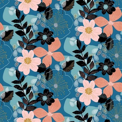 "Softsweat angeraut Organic Cotton ""Floral"" - blau"