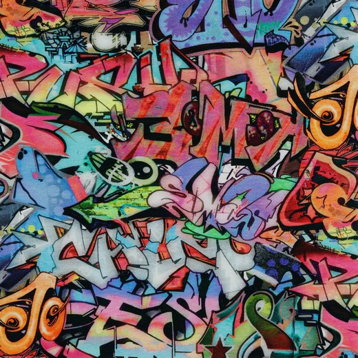 Sommersweat Organic Cotton mit Graffiti - Digitaldruck