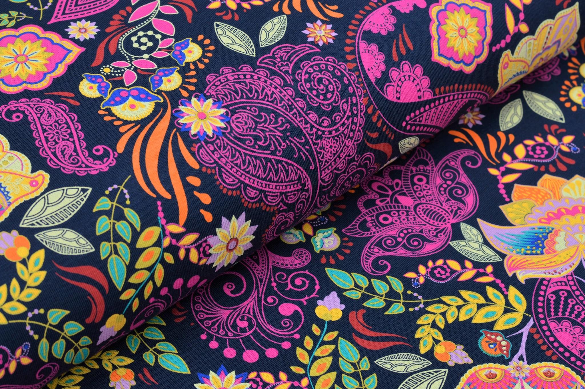 Baumwolljersey dunkelblau mit Paisley und Blumen