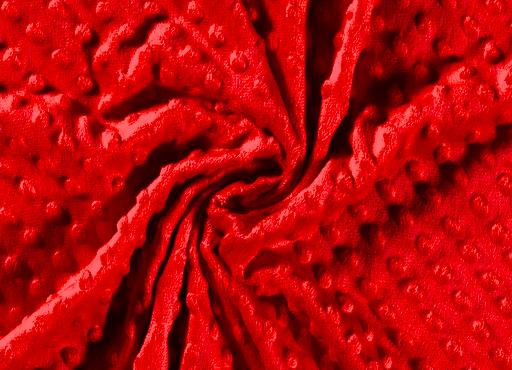 Minky-Fleece uni rot mit Noppen