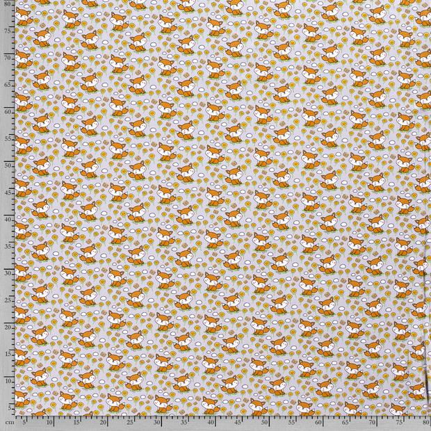 Baumwolljersey hellgrau mit Blumen und Füchsen